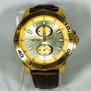Invicta Men's 46MM Watch Chronograph Gold/Brown